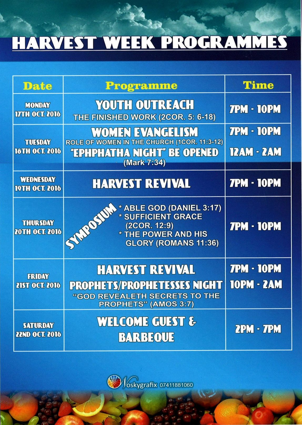 Covenant 2016 - 22nd Covenant Adult Harvest - Programme